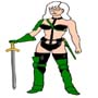 Daria as Taarna (from the movie, Heavy Metal), green armor
